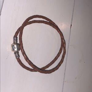 Pandora Jewelry - Pandora Brown Double Braided Leather Bracelet